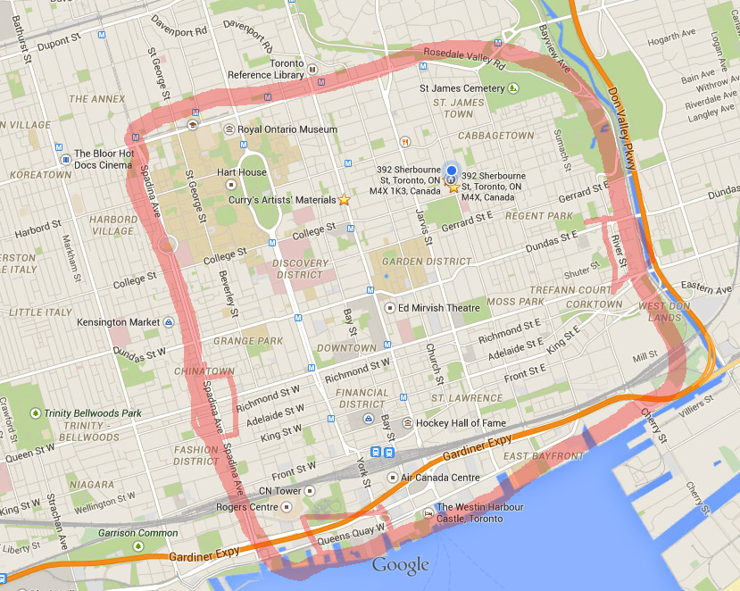 bodyworkToronto outcall travel area. The big blue dot is - ME!